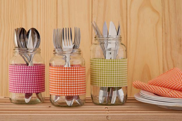 pote de vidro reciclado na cozinha