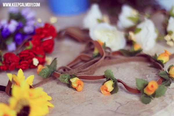 coroa com flores delicada