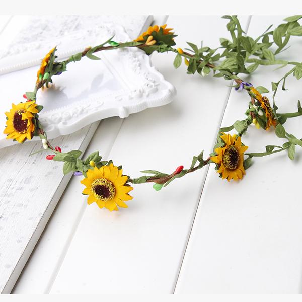 coroa com flores girassol