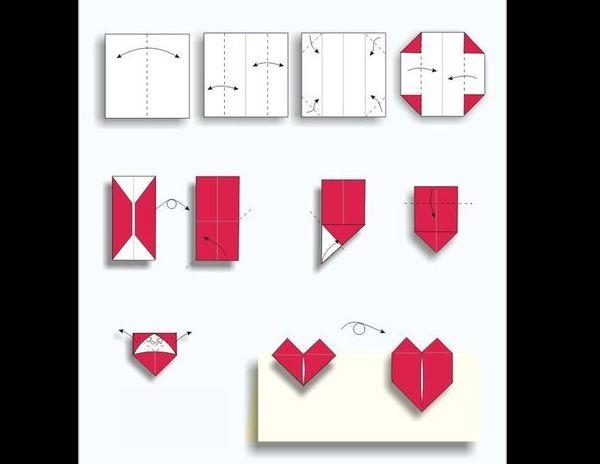 origami de coração fácil