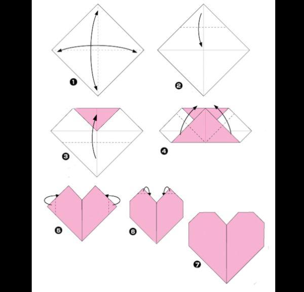 origami de coração passo a passo