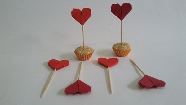 origami de coração no doce
