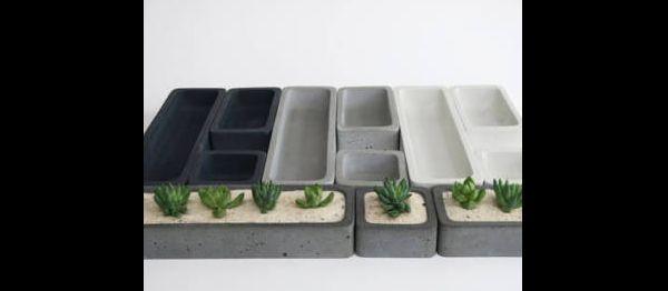 vaso de concreto com divisorias