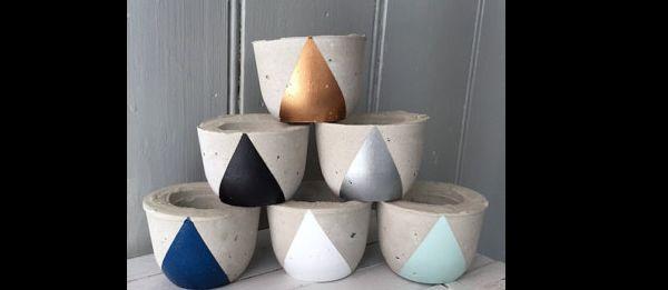 vaso de concreto pintados
