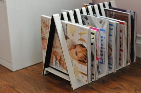 Como fazer um porta livros com material reciclado