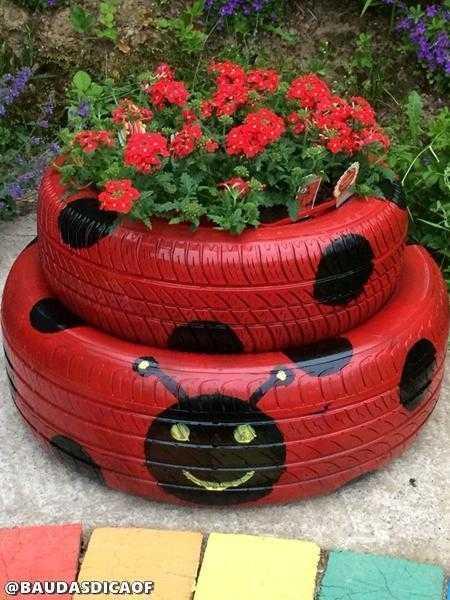 16 Ideias para reaproveitar pneus no seu jardim