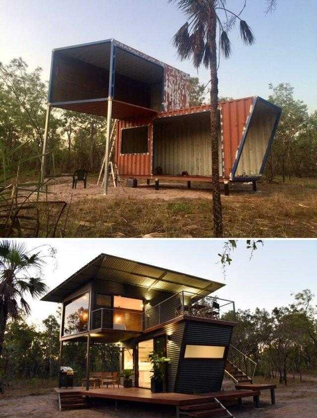 Maravilhosa transformação de 2 contentores numa casa de sonho