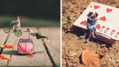 Photo of Fotógrafo de casamento transforma casais em miniaturas