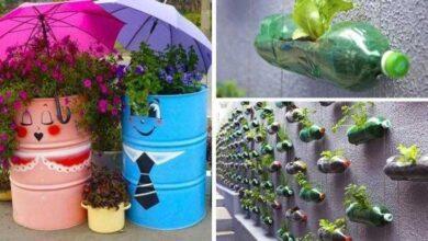 Foto de Decoração de jardim com materiais reciclados