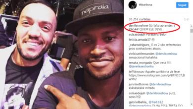 """Foto de Denilson usa """"parabéns"""" de Thiaguinho para cobrar dívida do cantor Belo"""