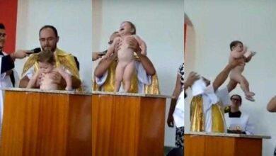 Foto de Bebê que bate palmas após batizado e faz sucesso na internet