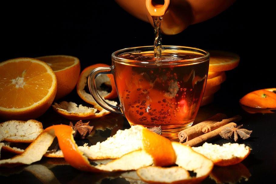 chá da casca da laranja