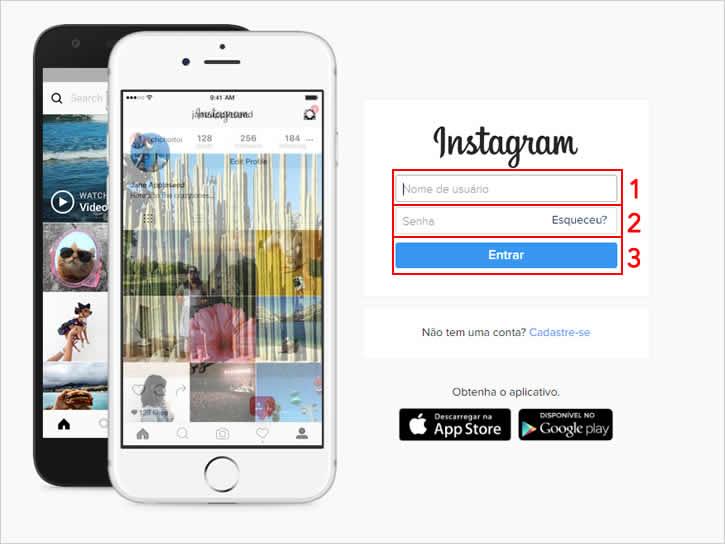 Acessando instagram pelo navegador para mudar o e-mail
