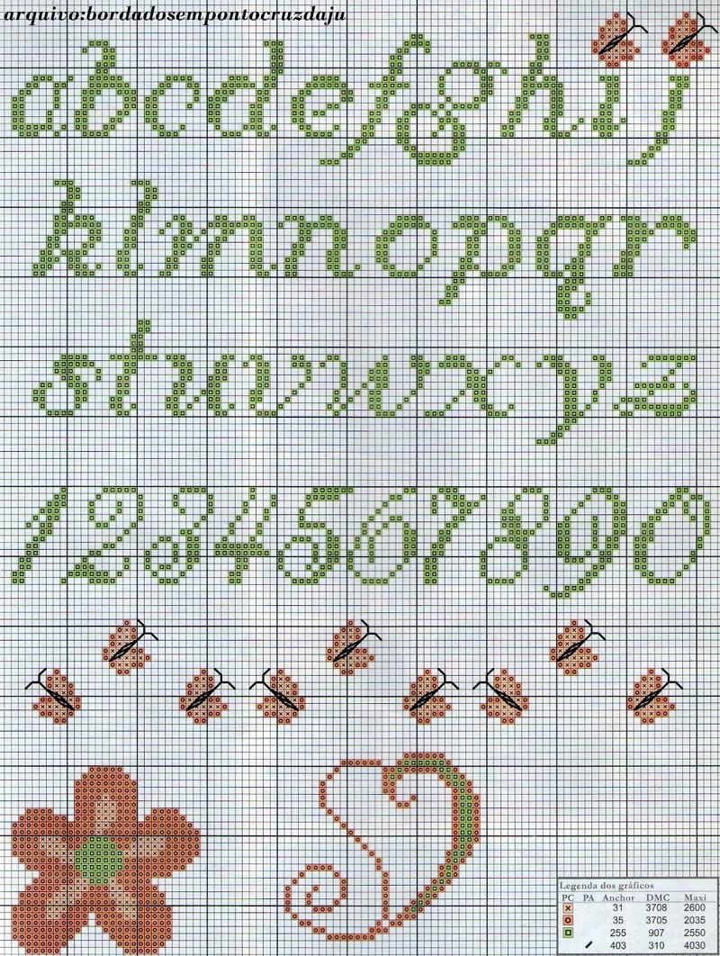 monograma ponto cruz borboleta
