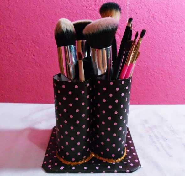 Como fazer porta pincel de maquiagem 2
