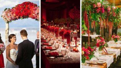 Foto de 80 Fotos de decoração de casamento vermelho