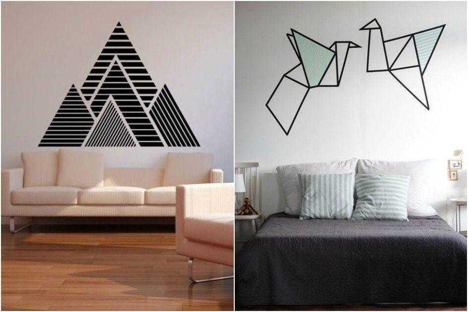 Como decorar paredes com fita isolante D