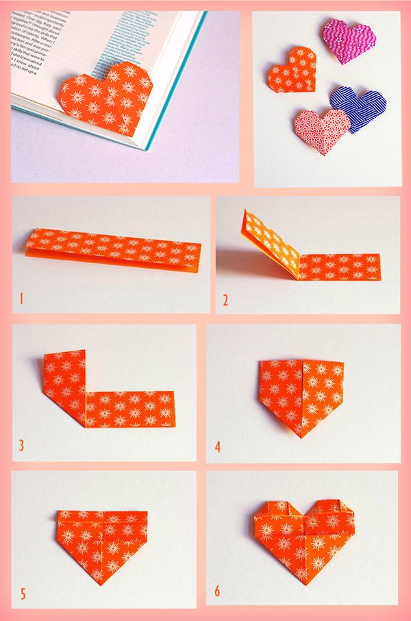 origami de coração marcador de livro