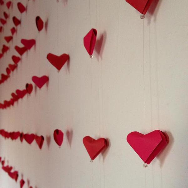 cortina com origami de coração