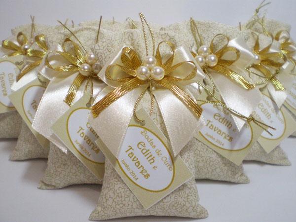 lembrança bodas de ouro sache