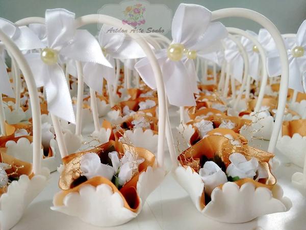 lembrança bodas de ouro flor