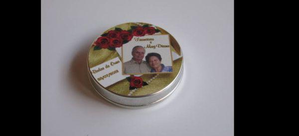 lembrança bodas de ouro lata