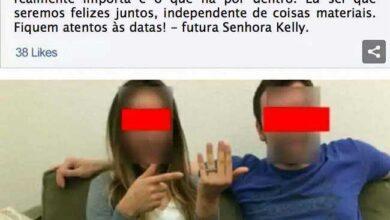 Foto de Casal faz anúncio de noivado no Facebook mas esquece pequeno detalhe