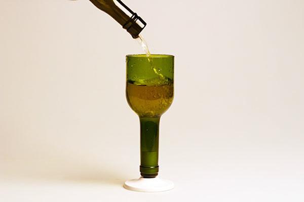 garrafa de vidro cortada taça fina