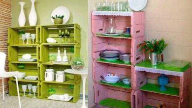Foto de Armários de cozinha feitos de caixote de madeira