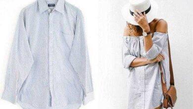 Foto de Como transformar camisa masculina em vestido ombro a ombro