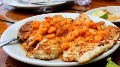 Receita e filé de peixe ao molho de camarão