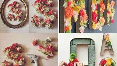 Como fazer letras com aplique de flores 1a