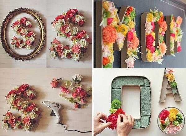 Como fazer letras com aplique de flores