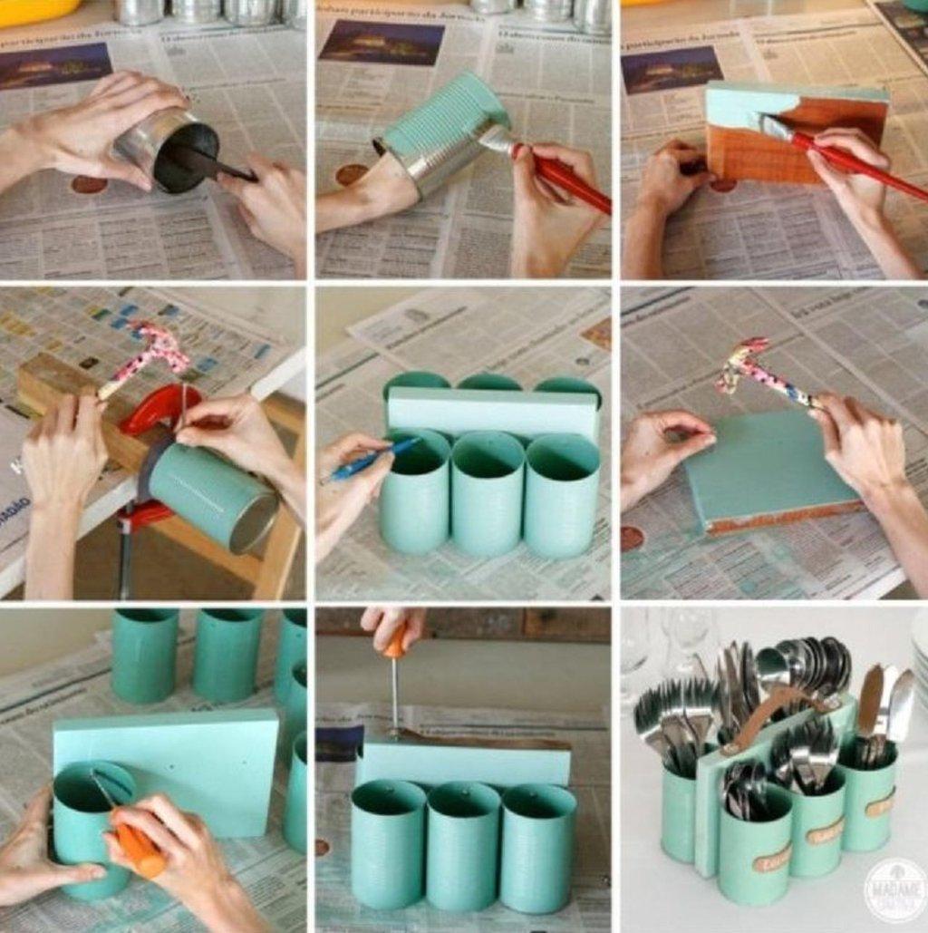 Como fazer porta talheres com latas velhas