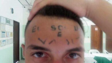 Foto de Jovem que teve testa tatuada é detido suspeito de furto