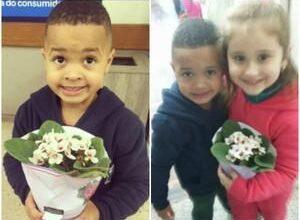 Foto de Mãe faz filho levar flores à coleguinha de escola após empurrá-la.