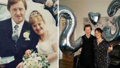 Foto de Casal com síndrome de Down comemora 23 anos de casamento. Eles se amam e respeitam um ao outro apesar das críticas