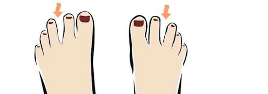 Um espaço entre o segundo e o terceiro dedos