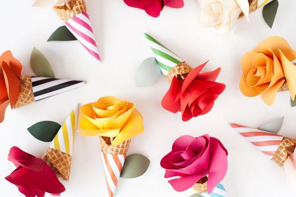 Este modelo de cone com flor é lindo e não é difícil de ser feito (Foto: ohhappyday.com)