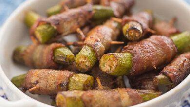 Quiabo frito com Bacon (Petisco fácil e delicioso)
