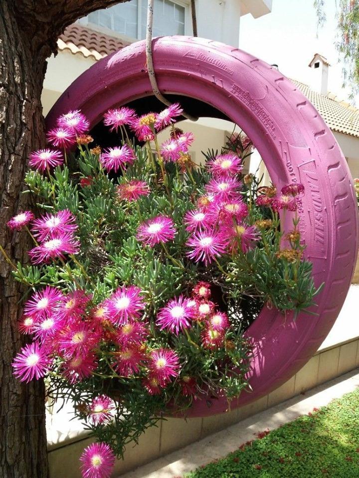 decoracao jardim pneus suspenso