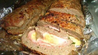 rocambole de carne com presunto e queijo e
