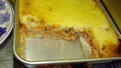 Torta de batata com recheio de frango