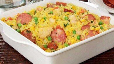 Foto de Arroz caipira com frango, calabresa e legumes
