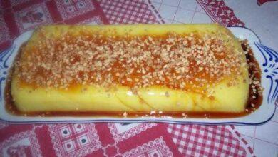 Foto de Pudim de iogurte e calda de abacaxi delicioso