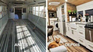 Foto de 14 ônibus e vans antigos que foram transformados em confortáveis casas móveis