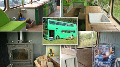Photo of Pai solteiro converte ônibus velho em uma incrível casa de férias
