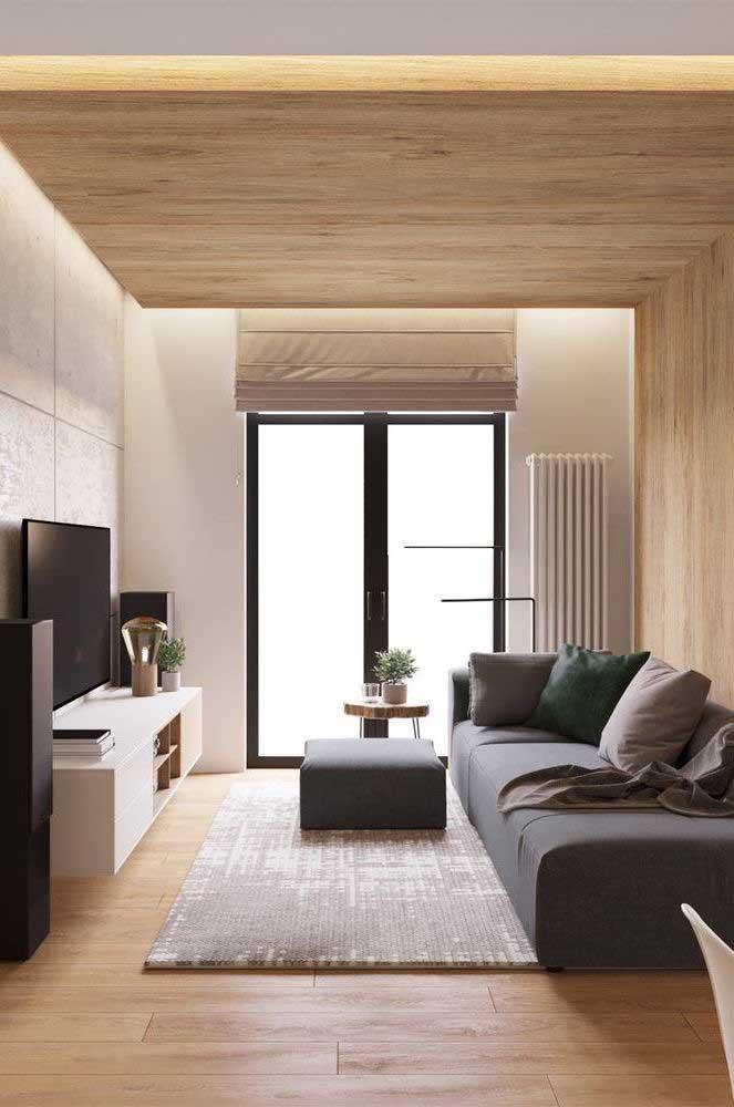Olha que sala de TV pequena e moderna.