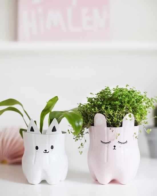 Vasos Lindos em Garrafas PET