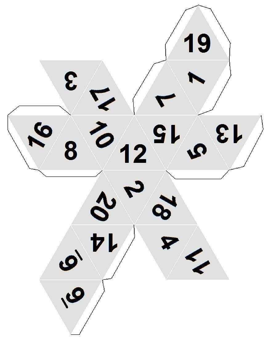 Molde de dado com 20 lados